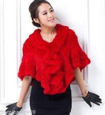 100% Real Knitted Rabbit Fur Stole Cape Poncho Shawl Vintage Scarf -bride Coat