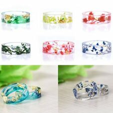 Fashion DIY Natural Real Dried Flower Resin Band Ring Women Men Jewellry Gifts