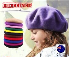 Girl Children Kids Wool blend Winter warm french Artist Round Beret hat Cap 3-11