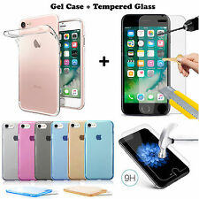 For iPhone 7 Silicon Gel Case Cover and Tempered Glass Screen Protector