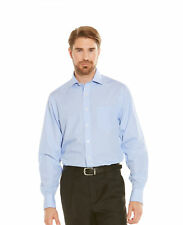 Savile Row Men's Non-Iron Blue Check Classic Fit Shirt  Single Or Double Cuff