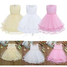 Pearls Layer Tulle Girls Princess Pageant Birthday Party Flower Summer Dress