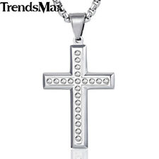 Mens Chain Cross Pendant Necklace Gold Silver Stainless Steel Paved Rhinestones