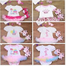 3PCS Baby Girl 1st Birthday Romper Tutu Dress Outfit Set Bodysuit Heabdand Shoes