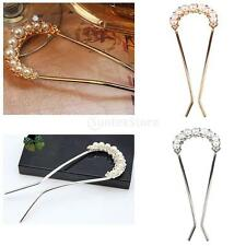 Wedding Bridal Crystal Rhinestone Faux Pearl U Shape Hair Pin Clip Jewelry