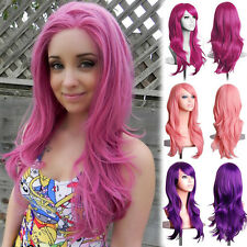 Women Full Wig Long Curly Wave Hair Cosplay Costume Synthetic Wigs Highlight UK
