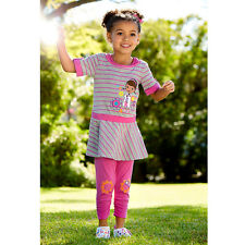 DISNEY STORE DOC MCSTUFFINS PINK STRIPE DRESS AND LEGGINGS SET FREE SHIPPING NEW
