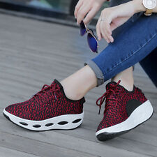 Women's Ladies Running Sneakers Sport Casual Lace Up Striped Trainers Shoes Size