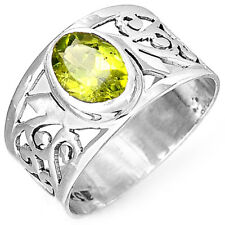 Sterling Silver 925 Ring Solid Peridot Gemstone Hollow Net Spirals Band Size