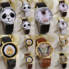 New Fashion Cute Pu Leather Watch Strap Wrist Quartz Womens Kids Girls Gift