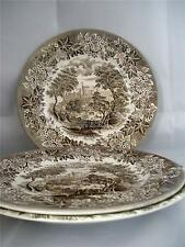 """3 ENGLISH IRONSTONE POTTERY WINDSOR PATTERN BROWN DINNER PLATES 9 3/4"""""""