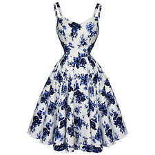 Hearts & Roses London White and Blue Floral Vintage Retro 1950s Flared Tea Dress