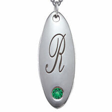 Chroma Sterling Silver May Birthstone Initial Necklace Made with SWAROVSKI GEMS