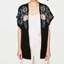 New Womens White/Black Floral Embroidered Short Sleeve Blouse Tops Shirt