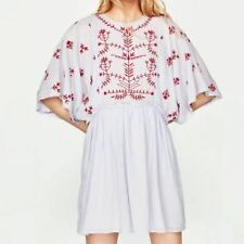 New Womens Light Blue Floral Embroidered Kimono Sleeve Blouse Tops Shirt
