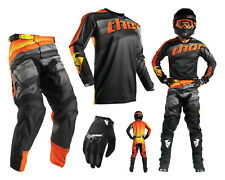 Thor Pulse VELOW motocross combo with Cross Pants Jersey Gloves Black Orange