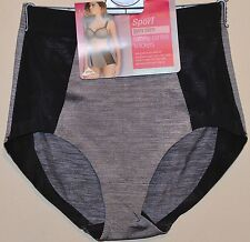 LADIES M&S LIGHT TUMMY CONTROL GYM SLIM KNICKERS WITH LYCRA SIZE 10 BLACK MIX