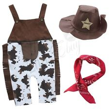 3pcs Baby Boy Kids Children Cowboy Hat+Bib+Pants Outfit Set Suit Clothes 6-24M