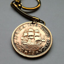 South Africa 1 Penny keychain pendant galleon Dromaderis SHIP Sailboat k000053