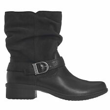 LADIES BOGS CARLY MID BLACK LEATHER WATERPROOF SLIP RESISTANT ANKLE BOOTS 72024