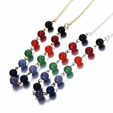 Fashion Colorful Beaded Round Pendant Necklace Chain Women Lady Wedding Jewelry