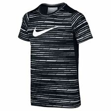 NIKE Boys Dri-FIT STRIPED LEGACY TEE T-Shirt ** DARK GRAY/WHITE - S, M, L ** NWT
