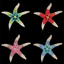 Fashion Gold Plated Crystal Rhinestone Colorful Starfish Brooch Pin Jewelry Gift