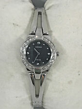 Ladies Seiko SUP051 Stainless Steel Crystal Accented Black Solar Dial Watch