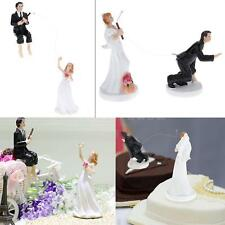 Wedding Cake Topper Bride And Groom Figurine Party Decorations Black&White W7P0