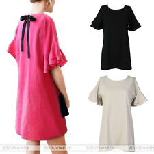 Womens Casual Loose A-line Cotton Linen Short Dress Shirt Sleeve Lotus Leaf Side