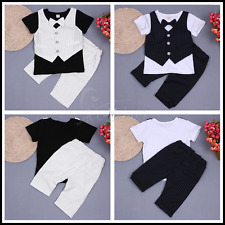 Gentleman Baby boys Summer T shirt tops + Shorts Pants Casual Clothes Outfit Set