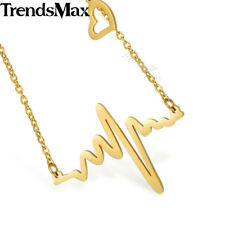 Womens Chain Charm Necklace Gold Silver Stainless Steel Electrocardiog Heartbeat
