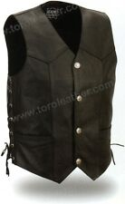Men's Cowhide Leather Vest with Buffalo Snaps and Side Laces - Black