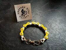 Yellow and Silver Bike Chain Bracelet * Bicycle Cyclist Road MTB DH XT Xmas