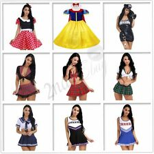 Women School Girls Snow White Costume Uniform Fancy Mini Dress Up Halloween