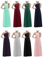 Women Sexy One-shoulder Chiffon Long Evening Prom Gown Bridesmaid Dress Cocktail