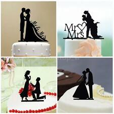 Romantic Wedding Cake Topper Acrylic Bride & Groom Silhouette Party Decor D1V3