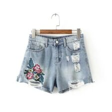 New Womens Summer Embroidered Floral Holes Denim Waist Short Pants Shorts