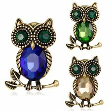 Retro Owl Sapphire Crystal Rhinestone Glass Brooch Pin Women Mother Jewelry Gift