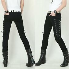 Gothic Mens Boys Lace Up Slim Fit Casual Black Side  Pants dance Trousers HOT SZ