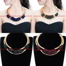Fashion Rope Chain Gold Tube Wood Beads Choker Statement Pendant Bib Necklace