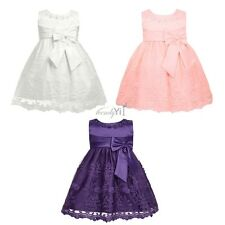 Infant Baby Girl Floral Sleeveless Embroidered Bow Dress Princess Pageant Party