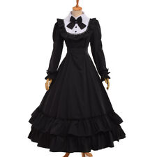 Vintage Victorian Bowknot Ball Gown Black Gothic Cosutme Dress Reenactment Dress