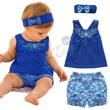 Toddler Infant Baby Girls T-shirt Tops Shorts Pants Outfit Clothes Headband 3-24