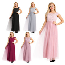 Women Formal Cap Sleeve Lace Tulle Bridesmaid Dress Long Evening Prom Gown