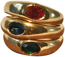 JOSEPH ESPOSITO- GOLD PLATE STACKABLE RINGS WITH CRYSTALS
