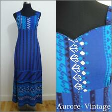 BOHEMIAN FOLK VINTAGE 1970s FINISH BLUE HEARTS ARTS & CRAFTS MAXI DRESS 10 38