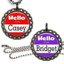 Hello I'm Custom Name Bottle Cap Necklace Handcrafted Personalized Kid's Jewelry