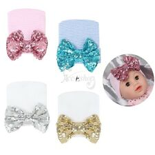 Newborn Infant Baby Toddler Glitter Sequins Bowknot Hospital Hat Cap Beanie Hat