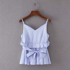 Womens Summer Casual V Neck Striped Print Ruffled Bow Sleeveless Pullover Blouse